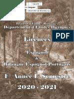 L1 Licence Espagnol & Bilangue 2020-2021 1ère Année -1er Sem