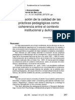 EVALUACION DE LA CALIDAD DE LAS PRACTICAS PEDAGOGICAS
