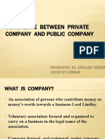 DIFFERENCE BETWEEN PUBLIC & PRIVATE COMPANY