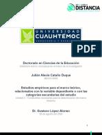 3.1 Estudios empíricos para el marco teórico, relacionandos con la variable dependiente o con las categorías secundarias del estudio_Cataño_Julián