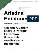 El Pensamiento y la Lucha - Cacique Guairá y cacique Paragua