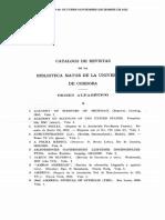 Catalogo de Revistas de La Biblioteca de La Universidad de Cordoba, 1922