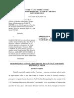 North Carolina Voting Litigation -  Moore v Circosta Plaintiffs TRO Brief 2020-09-26