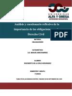 Análisis y cuestionario reflexivo de la importancia de las obligaciones en el Derecho Civil RIGO