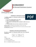 Binomial Distribution Worksheet