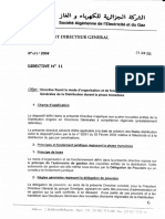 DIR.11- DIRECTIVE FIXANT LE MODE D'ORGANISATION ET DE FONCTIONNEMENT DES DIRECTIONS GENERALES DE LA DISTRIBUTION DURANT LA PHASE TRANSITOIRE -28-06-2004