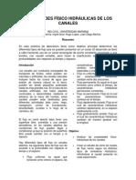 PROPIEDADES FÍSICO HIDRÁULICAS DE LOS CANALES
