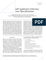 Profile of LIS Applicants Selecting Different Specialisations