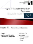 ACCA F1 Introduction to Scientific Management Theories