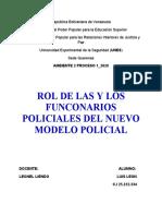 Rol de las y los funcionarios policialesdel nuevo modelo policial Tema 4 Leonel Liendo.
