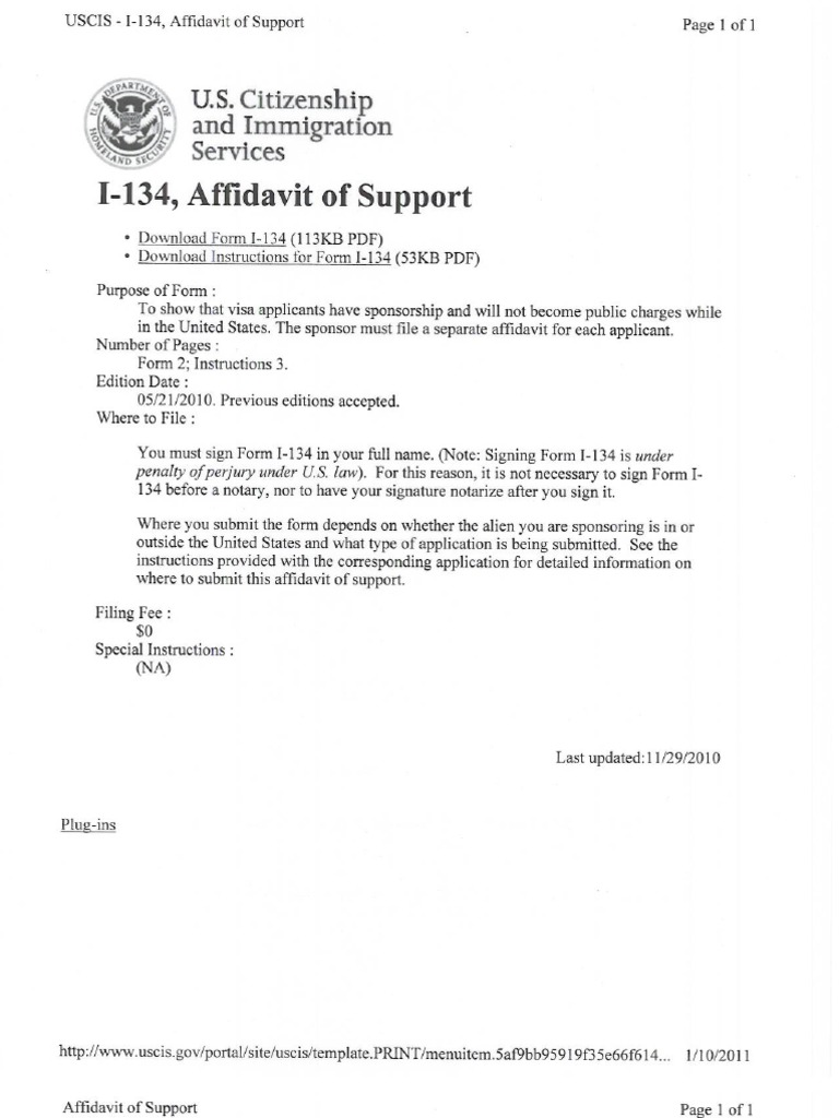 Affidavit of support – Affidavit of Support Form