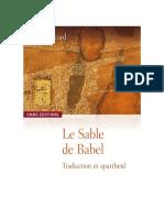 Le sable de Babel. Traduction et apartheid