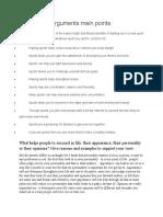 Arguments main points
