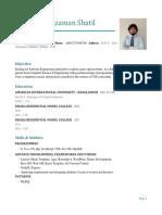Moshiuzzaman Shatil CV