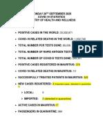 Voici un communiqué du ministère de la Santé sur les dernières statistiques sur le Covid-19.