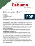 El Peruano - Decreto Supremo que aprueba el Reglamento de Acondicionamiento Territorial y Desarrollo Urbano Sostenible - DECRETO SUPREMO - N° 022-2016-VIVIENDA - PODER EJECUTIVO - VIVIENDA, CONSTRUCCION Y SANEAMIENTO.pdf