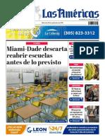 DIARIO LAS AMÉRICAS Portada digital del lunes 28 de septiembre de 2020