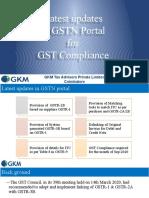Latest updation in GSTN Portal
