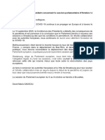Lettre du président de l'Europarlement sur l'annulation de Strasbourg en octobre 2020
