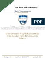HUD IG Report September 29, 2020 on Sec. Carson/Baltimore