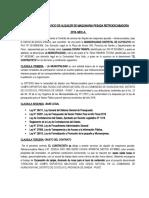 CONTRATO  DE SERVICIO DE ALQUILER DE MAQUINARIA PESADA RETROEXCABADORA GOMEZ