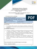 Guia de actividades y Rúbrica de evaluación -Tarea 1– Aritmético analítico