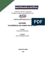 INFORME OCURRENCIA DE SISMOS EN EL PERU -
