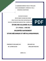 Étude Des Alliages Al-Si-Cu Solidifiés Rapidement Etude Mécanique Et Métallographique (1)