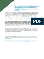 Asociația Franc slovenia-nulitatea contractului de credit