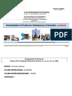 Programme de SCIENCES Termn Lit DEF.