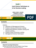 BA 35 Unit I Management Science Technques as Tools for Decision-making