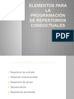 ELEMENTOS PARA LA PROGRAMACIÓN DE REPERTORIOS CONDUCTUALES