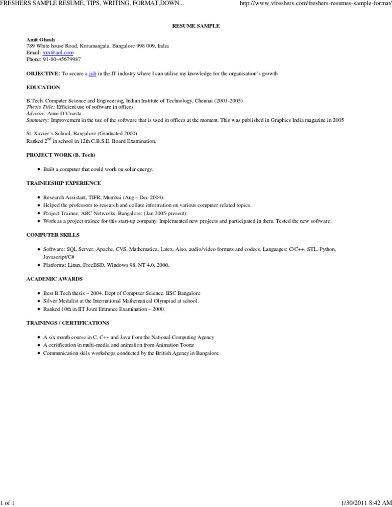 Free Resume Writing Help