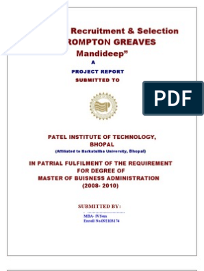 crompton greaves report   Recruitment   Human Resources