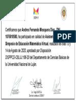 Certificate for Andres Fernando Mosquera Diaz  for _Certificados de Asistencia ..._