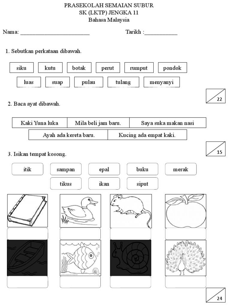 Latihan Bm Dan Sains Prasekolah