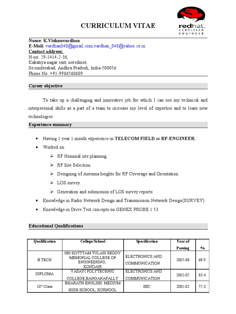 vishnu vardhan resume with rhce telecommunication system software