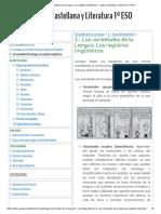 2.- Las variedades de la Lengua. Los registros lingüísticos - Lengua Castellana y Literatura 1º ESO