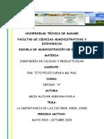 Meza Alcivar Adriana Importancia ISO 9000,14000,22000