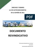 Documento reivindicativo de los autocaravanistas de la España de 2011