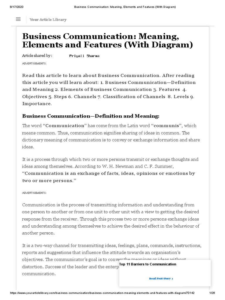 Business Communication Meaning Elements And Features With Diagram Persuasion Communication