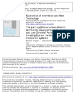 Economics of Innovation and New Technology Volume 21 issue 5-6 2012 [doi 10.1080%2F10438599.2012.656527] Veugelers, Reinhilde; Callaert, Julie; Song, Xiaoyan; Van Looy, -- The participation of univers