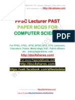 PPSC Lecturer PAST PAPER MCQS FOR COMPUTER SCIENCE