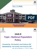 National population Policy -UNIT-II -ANAND YNC