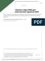 Sem Provas, Bolsonaro Culpa ONGs Por Crimes Ambientais Durante Cúpula Da ONU _ Política _ G1