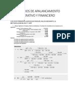 Soluciones EJERCICIOS DE APALANCAMIENTO OPERATIVO Y FINANCIERO
