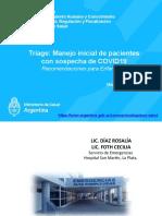 Webinar TRIAGE manejo incial de pacientes con sospecha de covid 21 de Abril 17hs