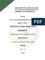 CALCULO EFICIENCIA Y PERT