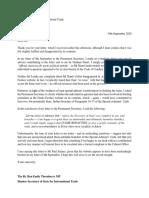 Letter to the Rt Hon Liz Truss MP