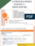 0013- Sous-programmes (Partie 2 - Procédures)